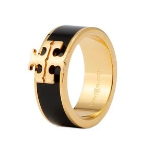 Tory Burch logo gold black ring size 8